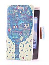 Tiger Tree Style Leather Case with Card Slot and Stand for LG E400/Optimus L3