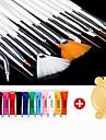 28PCS Acrylic Painting Nail Art Suit(12 Color Nail Art Paints 15 PCS Nail Art Brush 1 Random Color Palette)