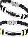 Муж. Кожаные браслеты Кожа Титановая сталь Уникальный дизайн Мода Бижутерия Серебряный Золотой Бижутерия 1шт