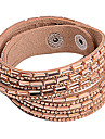 Multilayer Champagne hinestone Leather Bracelet
