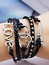 Leather Bracelet Multilayer Alloy Love and Heart Eiffel Tower Handmade Bracelet
