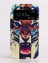 Auto Sleep / Wake Up Fierce Tiger Skylight Design Læder Full Body Taske til Samsung Galaxy S4 I9500