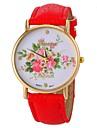 Montre motif de fleur de style de la mode PU poignet bande de quartz des femmes (couleurs assorties)