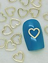 200pcs unique de coeur de dentelle de conception en metal dore decoration art tranche de l\'ongle