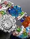 Femme Montre Habillee Montre Tendance Bracelet de Montre Quartz Plastique Bande Etincelant Fleur Bracelet Bayadere Vert