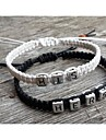 Classic Simple His Her Silver Charm Bracelets(2 Pcs)
