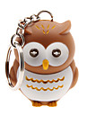 LED Lighting / Key Chain Owl Cartoon Key Chain / LED Lighting / Sound Khaki ABS