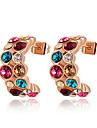 Earring Stud Earrings Jewelry Party / Daily / Casual Zircon Red / Blue / Purple / Champagne