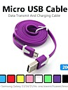 2M V8 Micro USB Noodle Data Cable for Samsung Galaxy S5/S4/S3/S2 and HTC/Nokia/Sony/LG (Assorted Colors)