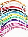 3-in-1 USB to 8Pin/30Pin/MicroUSB/Data Sync/Charger Noodle Cable (Assorted Color)