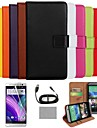 COCO FUN® Luxury Ultra Slim Solid Color Genuine Leather Case with Screen Protector,Cable and Stylus for HTC One M8