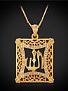 Colar imitacao de diamante Colares com Pendentes / Colares Vintage Joias Quadrado Cristal / Strass / Chapeado Dourado Dourado Dom
