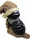 Cat / Dog Coat / Hoodie / Jacket Black / Brown Dog Clothes Winter Color Block Keep Warm