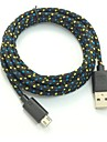 USB 2.0 Mikro USB 2.0 Flettet Kabel Til Huawei Sony Nokia HTC Motorola LG Lenovo Xiaomi 200 cm PVC Nylon