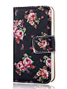 coco fun® steeg zwarte patroon pu lederen full body case met screen protector, staan en stylus voor de iPhone 4 / 4s