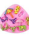 купальники тапочки зонтик выпечки помадка торт Choclate конфеты плесень, l8.4cm * w7.3cm * h0.8cm