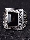Z&X®  European Style Square Black Gem Men\'s Statement Ring