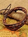 Herre brun væve pu læder armbånd