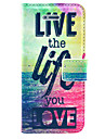 Live Life You Love Pattern PU Leather Case Cover with Stand and Card Holder for iPhone 5/5S
