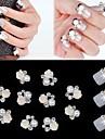 10pcs 3D Rose Flower White Pearl Rhinestone DIY Accessories Nail Art Decoration
