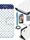COCO FUN® Dots Anchor Pattern PU Leather Case with Film and Stylus and Cable for Samsung S5 Mini G800