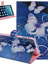 Blue Butterfly Pattern PU Leather Flip Protective Case Cover with Stand for iPad mini