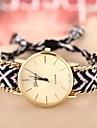 cadeia caso de ouro da banda pulseira de tecido de quartzo analogico relogio das mulheres (cores sortidas)