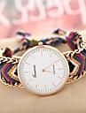 Women\'s Golden Case Chain Fabric Band Quartz Analog Bracelet Watch