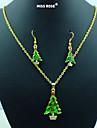 Mlle rose®new noël! rouge& vert émail vert collier de l'arbre de Noël& boucles d'oreilles ensemble de bijoux