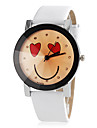 Women's Smile Face Pattern Round Dial PU Band Quartz Wristwatch Cool Watches Unique Watches