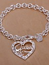 Diamond Heart Shpae 925 Silver Bracelet (1PC)