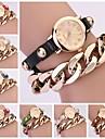 Le donne dell\annata della cinghia di cuoio del metallo del braccialetto Chain Watch (colori assortiti)