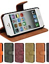 Genuine Matte Cowhide PU Leather Flip Cover Wallet Card Slot Case with Stand for iPhone 5/5S