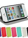 Для Кейс для iPhone 5 Флип / Магнитный Кейс для Чехол Кейс для Один цвет Твердый Искусственная кожа iPhone SE/5s/5