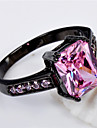 High Quality Fashion Women\'s Black Gold 10 KT Cubes Zircon Pink Ring