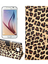 PU Leather and Plastic Body Leopard Grain Design for Samsung Galaxy S6