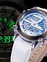 Herr Armbandsur Quartz LCD / Kalender / Kronograf / Vattenavvisande / Dubbel tidszon / alarm PU Band Svart / Vit / Blå Stämpla-