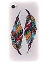 Colored Feather Patterns TPU Soft Case for iPhone 4/4S