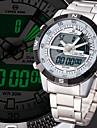 Hombre Reloj de Pulsera Cuarzo LCD / Calendario / Cronografo / Resistente al Agua / Dos Husos Horarios / alarma Acero Inoxidable Banda
