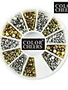 500kpl MIXS 1.5mm/2mm/3mm pallonpuoliskolla kynsikoristeet kultainen & hopeakoristeita