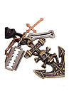 Classic Skull Cross Hide Rope Men's Necklaces(1pc) Christmas Gifts