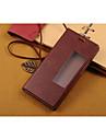 Для Кейс для Huawei со стендом / с окошком / Флип Кейс для Чехол Кейс для Один цвет Твердый Искусственная кожа для HuaweiHuawei P9 /