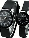 style de causalite cadran rond en caoutchouc noir montre-bracelet a quartz bande du couple
