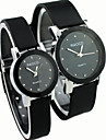 Couple\'s Causal Style Round Dial Black Rubber Band Quartz Wrist Watch
