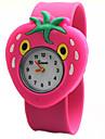 Children\'s Cute Cartoon Silicone Strawberry Pattern   Lovely Digital Quartz Slap Watch