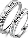 Alliances Quotidien Decontracte Bijoux Argent sterling Strass Couple Couple de Bagues 2pcs,reglable