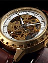 Men's Automatic Skeleton Watch Hollow Dial Leather Band Cool Watch Unique Watch