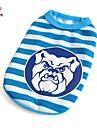Кошка Собака Футболка Одежда для собак На каждый день Полоски Синий