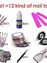 All Include, Nail Brush + Nail Pen + Nail Art Tips Rolls Striping Tape+ Glue 12 Kind Of Set Nail Art Tool Set