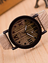 Women\'s Fashion Watch Wood Watch Quartz Leather Band Vintage Brown Khaki Strap Watch
